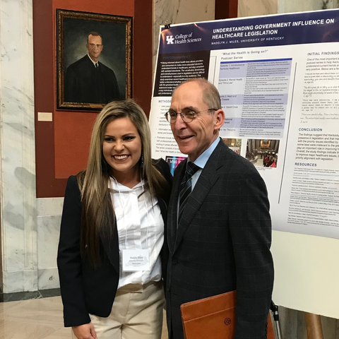 Photo of University of Kentucky College of Health Sciences student Maddie Miles, with University of Kentucky president Dr. Eli Capilouto