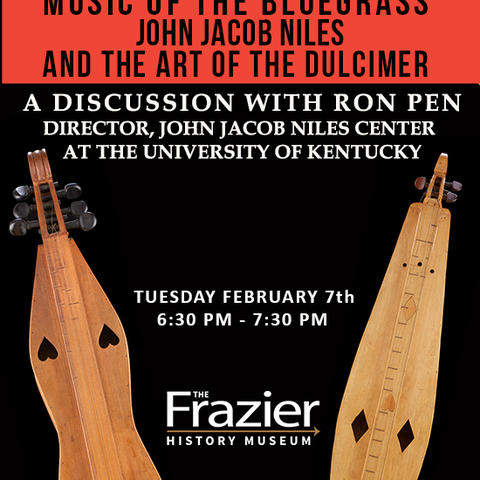 photo of poster of Ron Pen lecture on dulcimers and John Jacob Niles at Frazier Museum
