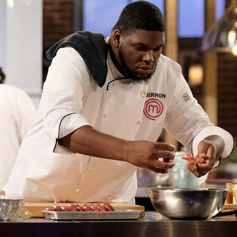 "photo of Gerron cooking on Fox's ""MasterChef"""