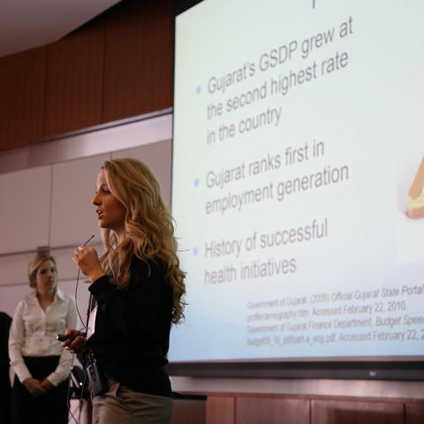Unidentified student presents her thesis at the Global Health Case Competition