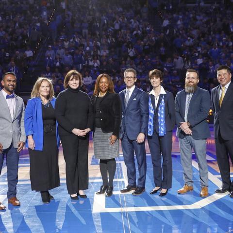 photo of 2020 Great Teacher Award winners on floor of Rupp Arena
