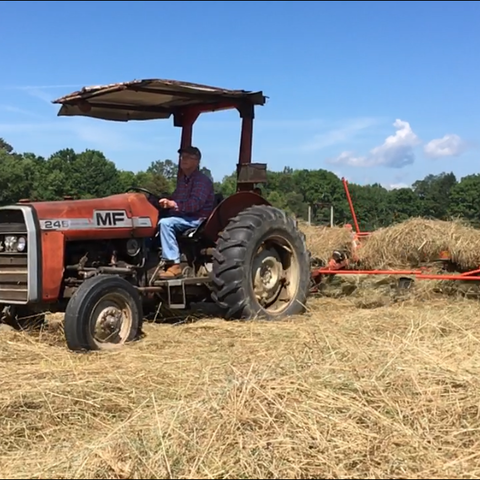 Kyle Brooks Groves enjoys a sunny day making hay on his farm.