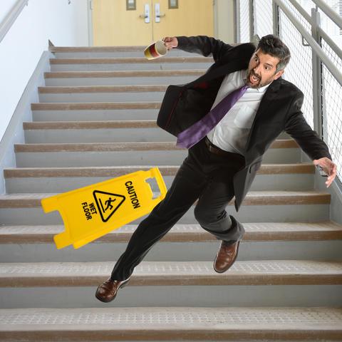 photo of man falling