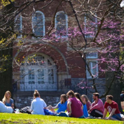 photo of students in front of Gillis Building