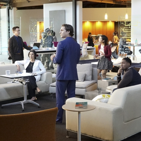 "scene of cast in meeting space from ""Pure Genius"" on CBS"