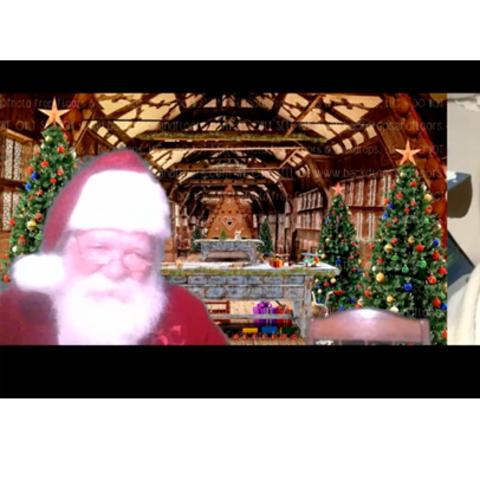 screenshot of Santa and child meeting virtually