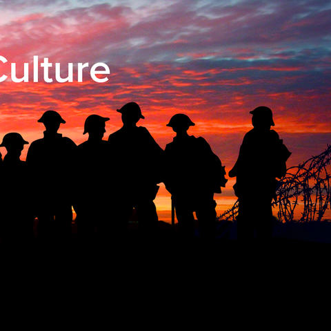 "photo of silhoutte of soldiers against a sunset next to barbed wire with the words ""Music, History, and Culture in the Shadow of the Great War"""