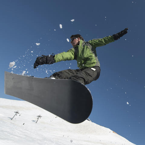 Photo of a snowboarder