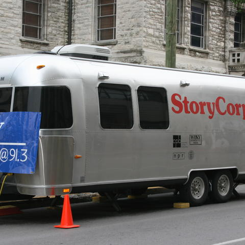 photo of StoryCorps recording booth in Lexington in 2006