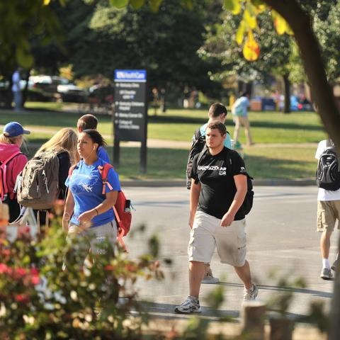 photo of students walking