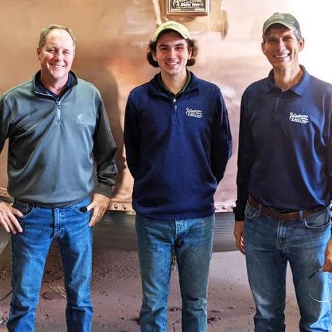 L-R: Rob Sherman, Vendome vice president; Will Hubbuch, UK student; Mike Sherman, Vendome vice president.