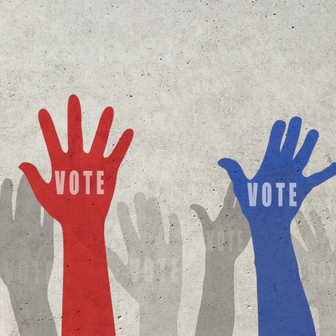 artwork of red, blue and gray hands with vote on them