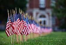 photo of 9/11 flags in front of UK Main Building