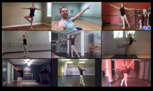 photo of 9 screens of GSA students studying ballet online at home