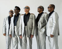 photo of Blind Boys of Alabama in silver suits