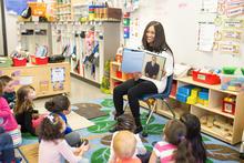 Photo of Miranda Fulce reading at Breckinridge Elementary.