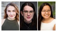 3 headshot photos of Abby Davis, Ali Ray and Chelsea Russell