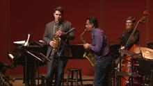 photo of Kirby Davis and Rudresh Mahanthappa play saxophones in masterclass