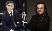 photos of Michael Robinson (with clarinet) and Logan Blackman (with baton)