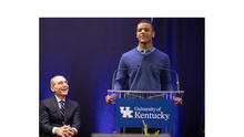 photo of UK President Eli Capilouto and student Chandler Frierson