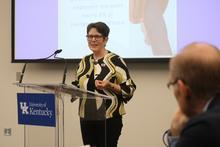 photo of Lexington Mayor Linda Gorton speaking to UK Board of Trustees committee