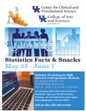 Flyer for Statistics Facts and Snack 2017 summer workshop