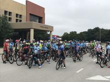 Photos of the cyclists at the memorial event
