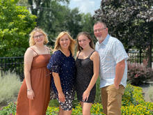 The family of Mikayla Mika (left), UK's Family of the Year, Cheryl (Mikayla's mom), Lexi (sister) and Ron (dad).