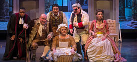 """photo of cast of UK Opera Theatre's """"The Barber of Seville"""""""