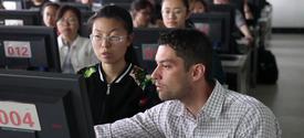 photo of Peter Kekenes-Huskey teaching at a Chinese university