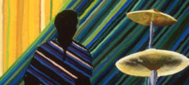 Painting of person playing the drums