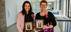 Last year's Sarah Bennett Holmes Award winners were staff recipient Micaha Hughes, left, and faculty recipient Janet Lumpp, both from the College of Engineering. Photo by Sarah Caton.