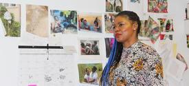 photo of Ebony G Patterson in her studio