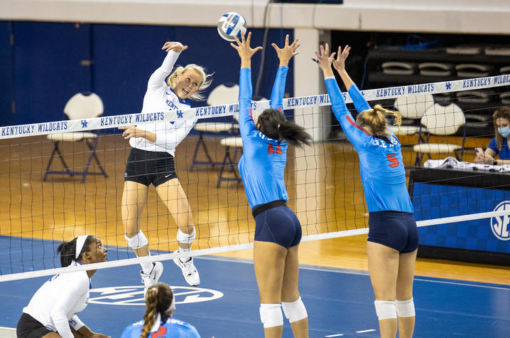 """Sports Game/ Action photo finalist """"Volleyball vs Ol Miss"""" photo by Jack Weaver."""