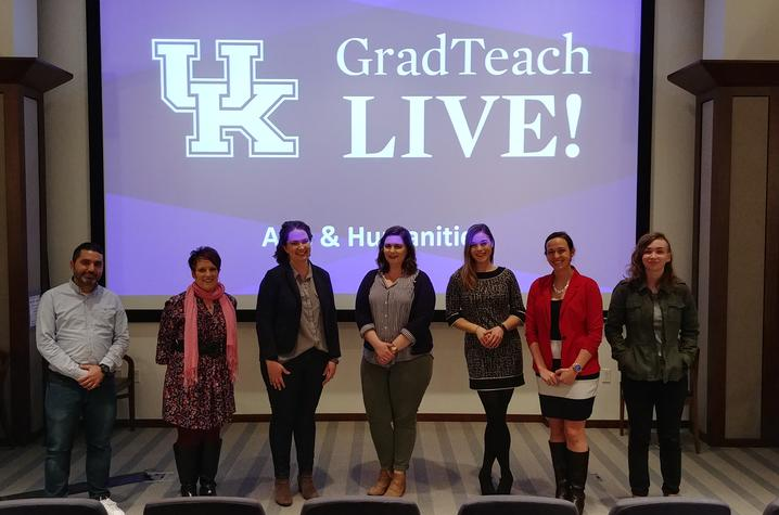 "Pictured from left, Francisco Luque, Kateri Kate Miller, Jannell McConnell Parsons, Kathryn Kohls, Malinda ""Lindy"" Massey, Corinne Gressang, and Kayla Bohannon."