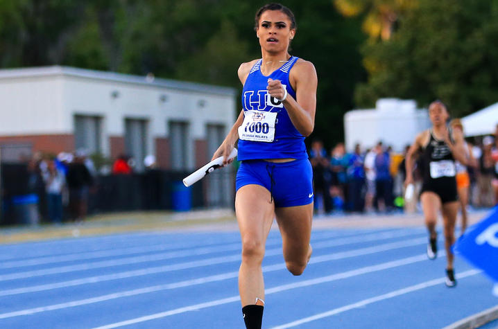 photo of Sydney McLaughin competing for UK in Florida Relays