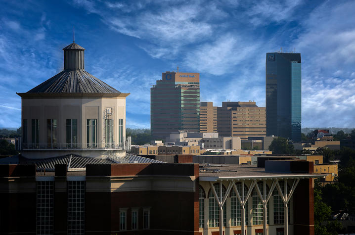 photo of Lexington skyline with cupola of Young Library in forefront