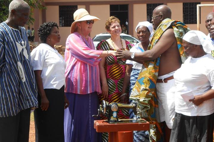Marcia Rasner, left and Kim Spillman meet village chief in Adjeikrom