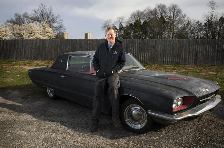 Photo of Gill Heart and Vascular Institute patient Jason Conn with his 1968 Ford Thunderbird
