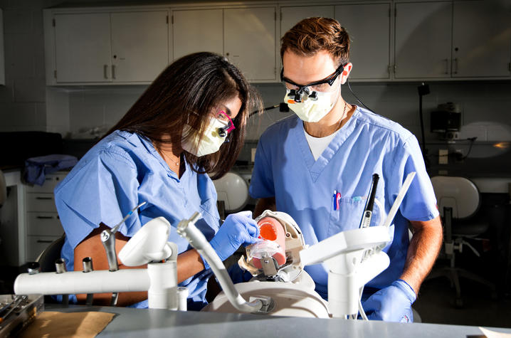 This is a photo of UK dental students in training.