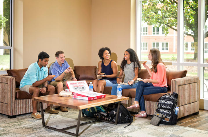 photo of students in residence hall