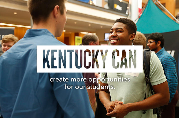 """Kentucky Can"" logo over photo of students"