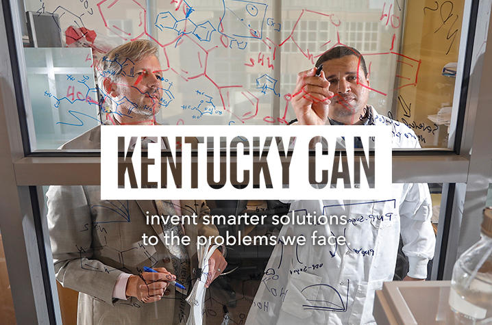 """Kentucky Can"" logo on photo of professors"