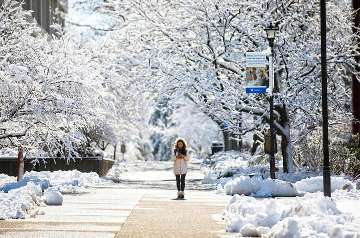photo of student in snow