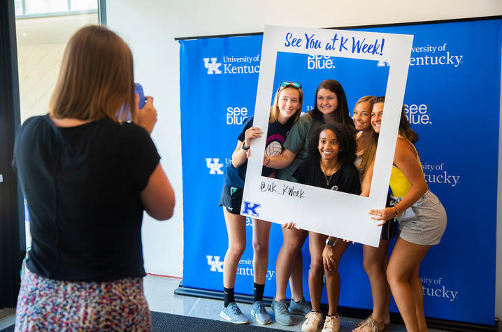 """This is a photo from a """"see blue."""" U orientation this summer."""