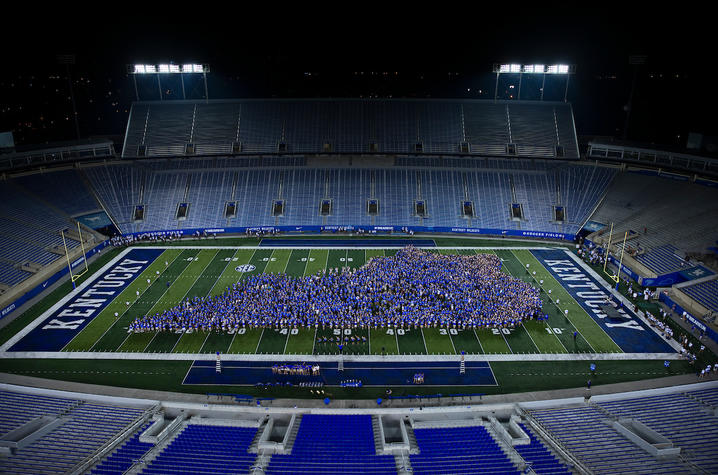 photo of students making the shape of Kentucky on Kroger Field