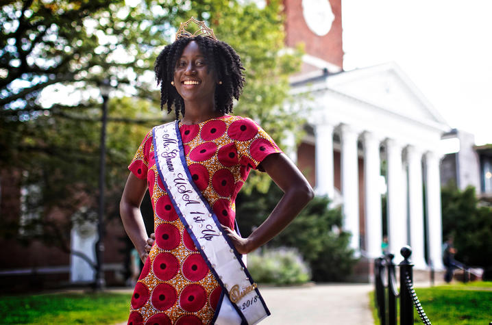 Photo of Nana Ntodi in front of Memorial Hall
