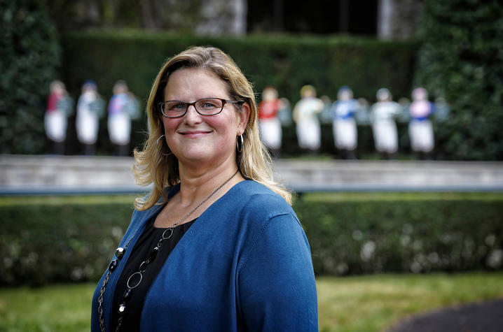 This is a photo of UK alumna and Ky. Commissioner of Tourism Kristen Branscum at Keeneland