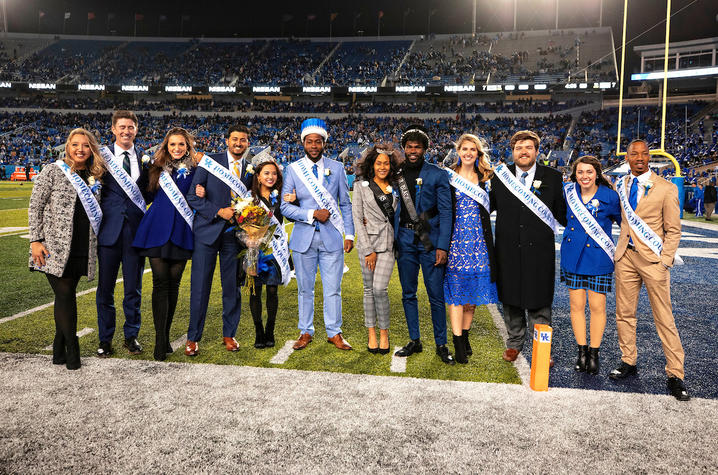Photo of the 2018 UK Homecoming court on Kroger Field including Tiana Thé, Homecoming queen, and Juwan Page, Homecoming king.