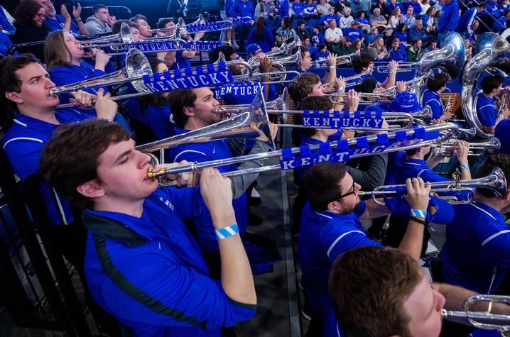photo of trombone players with tiles spelling Kentucky on slides at Rupp